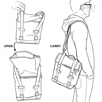 Seitentasche in Lederkorsett + Universalrahmen