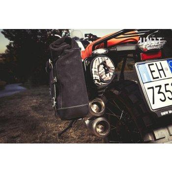Seitentasche aus Spaltleder + Doppelrahmen NineT Scrambler