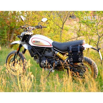 Seitentasche aus Spaltleder + Ducati Desert Sled Rahmen