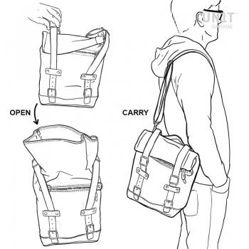 Seitentasche aus Spaltleder + Ducati Scrambler Rahmen