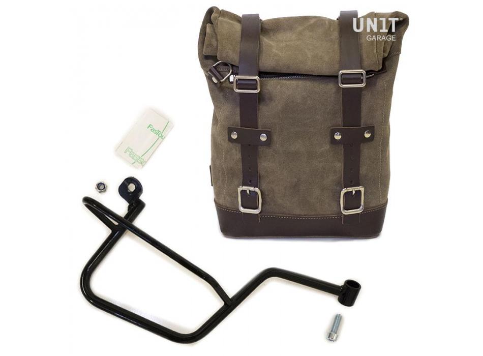 Seitentasche aus Spaltleder + Guzzi V7 DX Rahmen