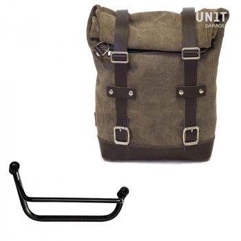 Seitentasche aus Spaltleder + Guzzi V85 TT Rahmen
