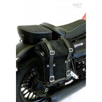 Seitentasche aus Spaltleder + Guzzi V9 Bobber DX Rahmen