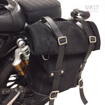 Seitentasche aus Spaltleder + Guzzi V9 Bobber SX Rahmen
