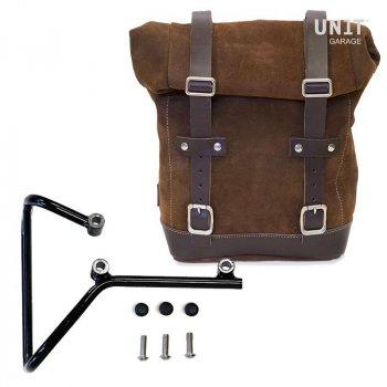 Seitentasche aus Spaltleder + husqvarna svartpilen 701 Rahmen