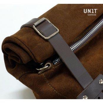 Seitentasche aus Spaltleder + NineT Rahmen