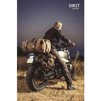 Seitentasche aus Leder + rechtsseitiger Rahmen NineT