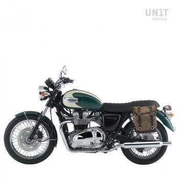 Seitentasche aus Spaltleder + Triumph Bonneville T100 Linke Rahmen (2001-2016)