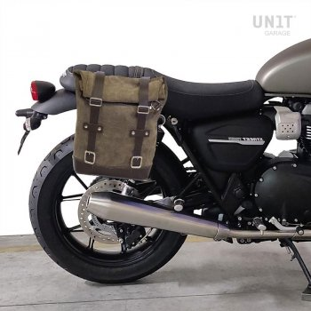 Seitentasche aus Spaltleder + Triumph DX Rahmen Street Twin 900 (2016 Bis heute)