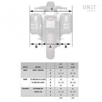 Paar Atlas-Taschen aus Aluminium 40L + 34L mit nineT Rahmen