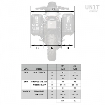 Paar Atlas 40L + 34L Aluminiumbeutel mit R1200GS LC - R1250GS & ADV Rahmen