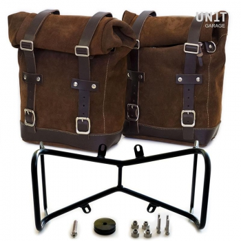 Zwei Seitentaschen aus Spaltleder + Doppelrahmen NineT symmetrisch